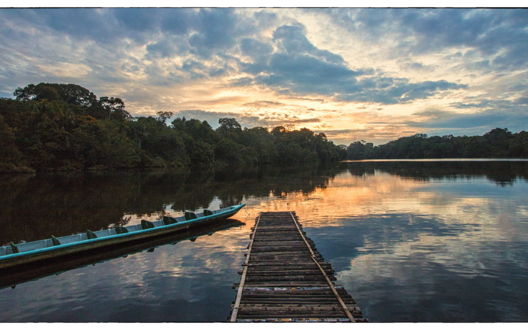 Sunset -Ecuador River in Amazon